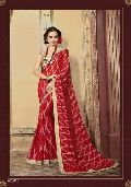 Radhika Fibers Red Color Brasso Saree with Designer Blause