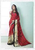 Fibers Red Color Printed Crepe Silk Saree