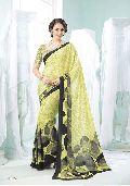 Radhika Fibers Yellow Color Printed Crepe Silk Saree with Blause