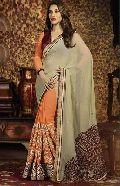 Latest Stylish Georgette Designer Saree with Orange Color - 9475