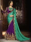 Latest Stylish Georgette Designer Saree with Purple Color - 9473