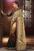 net designer saree with Brown color