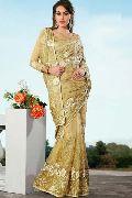 Latest Stylish Net Designer Saree with Cream Color - 9282