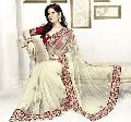 Net Designer Saree with Cream Color