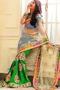 Net Designer Saree with Green Color