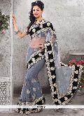 Latest Stylish Net Designer Saree with Grey Color - 9286
