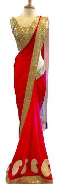 Latest Stylish Net Designer Saree with Red Color-9247 Red
