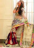 Net Designer Saree with Red Color