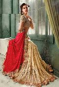 Satin Designer Saree with Beige and Red Color