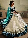 Satin Designer Saree with Cream and Green Color