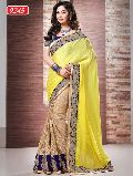 Latest Stylish Satin Designer Saree with Yellow Color - 9245a