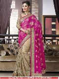 Latest Stylish Viscose Designer Saree with Beige and Pink Color - 9244