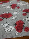 Plain  Floral with Red Roses Poly Cotton  Bedsheet Print Fabrics