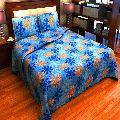 Factorywala Cotton Floral Print Blue Colour Double BedSheet