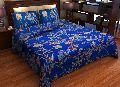 Factorywala Premium Cotton Floral Print Blue Colour Double Bed Sheet