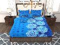 Factorywala Premium Cotton Floral Print Blue Colour Single Bed Sheet