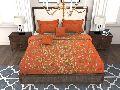 Factorywala Premium Cotton Floral Print Orange Colour Single Bed Sheet
