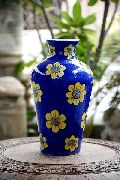 12 Inch Blue Pottery Flower Vase