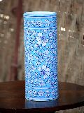 Blue Pottery Cylinder Shaped Vase