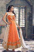 Patel Marketers  Royal orange & off white georgette salwar suit pm-16