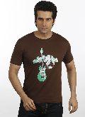 Men Brown Guitar T shirt