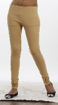 Women Beige Solid Leggings