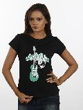 Women Black Guitar T shirt