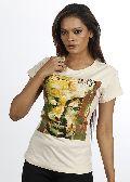 Women White Buddha T shirt