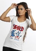 Women White Stoned T shirt