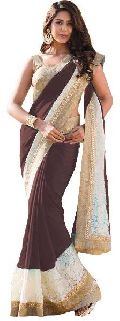 coffie color Georgette With Net Brasso  saree