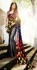 Multi Color Classic Georegette Saree With Fancy blouse