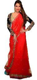 red color pure georgette Net brasso saree