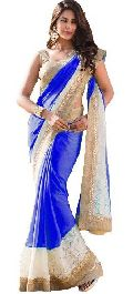 royal blue color Georgette With Net Brasso  saree