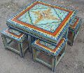 Indian Hand Painted Coffee Table With Stool - Indian Painted Furniture