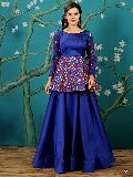 KF Alluring Royal Blue Embroidered Peplum Top Gown