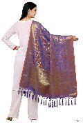 KF BlueGolden Banarasi Style Dupatta with Tassel