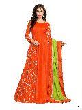 KF Orange Banarasi Silk Embroidered A-Line Gown