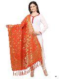 KF Orange Golden Art Silk Banarasi Dupatta with Tassel