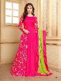 KF Pink Banarasi Silk Embroidered A-Line Gown