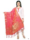 KF Pink Golden Art Silk Banarasi Dupatta with Tassel