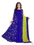 KF Royal Blue Banarasi Silk Embroidered A-Line Gown