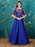 KF Stylish Royal Blue Embroidered Anarkali Gown