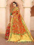 Krutifashion Orange And Green Banarasi Patola Style Saree