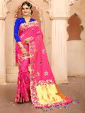 Krutifashion Pink And Royal Blue Banarasi Patola Style Saree