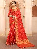 Krutifashion Red Banarasi Style Saree