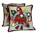 2 Dark Red Embroidered Patchwork Ethnic Indian Flower and Bird Throws Pillow Cushion Cover