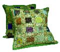 2 Green Embroidery Sequin Patchwork Indian Sari Throw Pillow Krishna Mart Cushion Covers