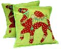 2 Green Handcrafted Embroidered Patchwork Ethnic Indian Camel Throws Pillow Krishna Mart Cushion Covers