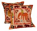 2 Orange Handcrafted Applique Patchwork Ethnic Indian Elephant Throws Pillow Krishna Mart Cushion Covers