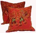 2 Red Handcrafted Embroidered Ethnic Indian Elephant Throws Pillow Cases Toss Cushion Covers
